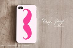 iphone 4 case , iphone 4s case , case for Iphone 4 mobile Case handmade: Pink Mustache