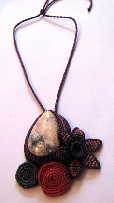 Macrame pink, fushia and grey necklace with Chalcedony stone