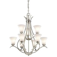 Kichler Keiran Brushed Nickel Transitional Etched Glass Chandelier at Lowe's. The Keiran™ 9 light chandelier features a classic look with its Brushed Nickel finish and bell shaped satin etched white glass. The Keiran Brushed Nickel Chandelier, Chandelier Shades, Chandelier Lighting, Foyer Chandelier, Chandelier Ideas, Light In, Light Shades, White Light, Transitional Chandeliers