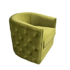Kenmare Amber Green Velvet Swivel Chair new for Deep tufted sides and stud detailing. Swivel Chair, Tub Chair, Velvet Armchair, Green Velvet, Armchairs, Contemporary, Modern, Deep, Colour