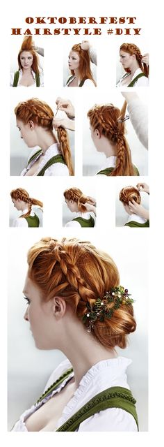Style your hair in a romantic way for Oktoberfest #diy #hairstyle #tutorial @Shurrie Weatherman Freeman Parsons I think we should have a braiding party for Oktoberfest!