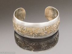 Etched Cuff Bracelet in Sterling Silver w Bronze Patina and Viney Floral Motif