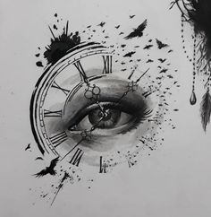 timeless pocket watch tattoo ideas - a classic and modern totem - new tattoo timeless pocket watch tattoo ideas - a classic and modern totem ideas tatto tattoofrauen tattoo wrist Clock Tattoo Ideas Pencil Art Drawings, Art Drawings Sketches, Tattoo Sketches, Tattoo Drawings, Tattoo Art, Cool Eye Drawings, Grey Tattoo, Kunst Tattoos, Body Art Tattoos