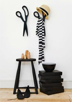 Scissor wall hooks by One must Dash via Little Helsinki