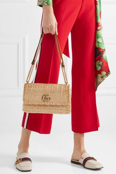 b955a7dd564 Gucci - Linea Cestino leather-trimmed wicker shoulder bag