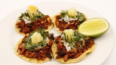 """These fish tacos are definitely not """"pure"""" Mexican food, because you would never have that protein with that marinade. But who cares? They're delicious."""