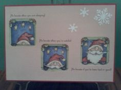 "Santa images trimmed into fit die-cut windows. Teen card, inside ""Creeper Alert"". Martha Stewart snowflake punch."