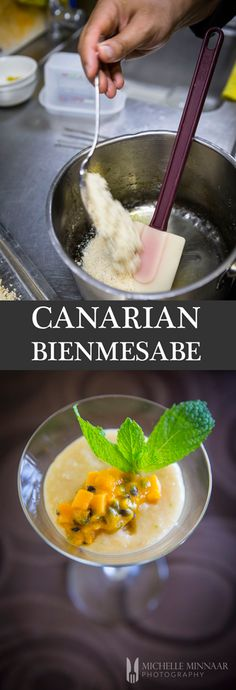 "Canarian Bienmesabe - Bienmesabe, three Spanish words banged together ""bien me sabe"", literally means ""tastes good to me"". It consists of almonds, sugar, egg yolks and grated lemon rind."