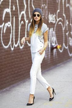 17 ways to wear white overalls // grey beanie, aviator sunglasses, grey tee & black pumps #style #fashion #weworewhat
