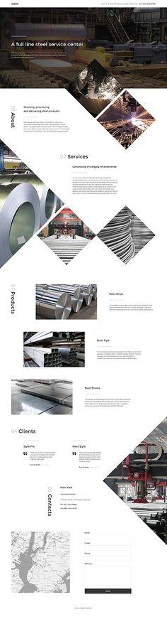 Template 57716 - Steel Industrial Responsive Landing Page Template