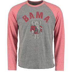 Alabama Crimson Tide Original Retro Brand Big Al Tri-Blend Raglan Long Sleeve T-Shirt - Heathered Gray/Heathered Crimson - $39.99