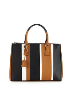 Saffiano+Baiadera+Striped+Galleria+Tote+Bag,+Camel/White/Black+by+Prada+at+Neiman+Marcus.