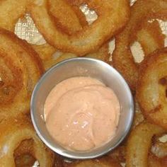 Bloomin' Onion Dipping Sauce- this is a good copy of the Outback bloomin onion sauce. Used it on Portobello fries. Mmmmm...