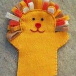 keçe aslan şekilli parmak kuklası