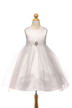 Satin Dress with tulle skirt and pin on brooch.