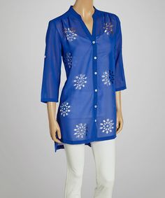 Another great find on #zulily! Royal Blue Laser-Cut Button-Up Tunic #zulilyfinds