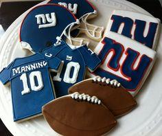 New York Giants Football Decorated Cookies- jersey, helmet, football, team logo. $48.00, via Etsy.