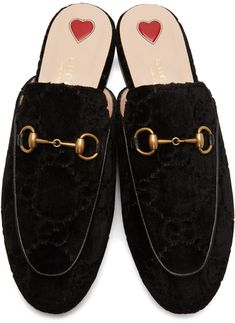 34f26d3a6 Gucci - Black Velvet GG Princetown Slippers Leather Heels, Lounge Wear,  Slippers, Slip