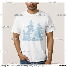 Skiing Blue Pines Personalize T-Shirt