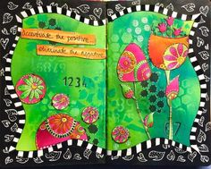 Diny Sprakel on THE DYAN REAVELEY SOCIETY OF ART JOURNALING Gateway Group.  Dylusions paint and stencils.
