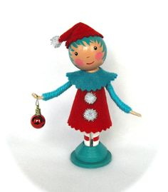 Clothespin Doll Christmas Elf Red And Aqua OFG by cottoncandydolls, $30.00