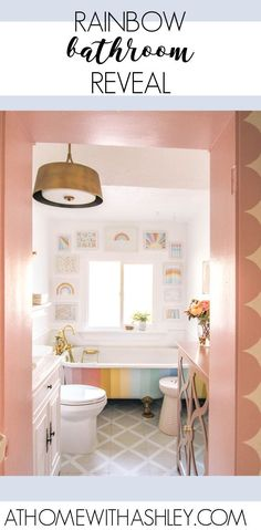 rainbow bathroom reveal! Ideas for colorful decor for a small modern vintage bathroom. This space has a striped claw foot tub and pink scallops on the trim. The interior gallery wall with the oversized gallery wall- it's all so fun! Peel And Stick Tile, Stick On Tiles, Modern Vintage Bathroom, E Design, Interior Design, Dark Wood Cabinets, Cozy Room, Small Bathroom, Bathroom Ideas
