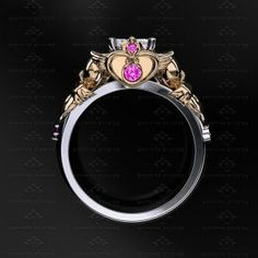 Sapphire Studio Design: Sailor Moon 1.25ct Diamond White/Yellow/Rose Gold Sailor Moon Ring