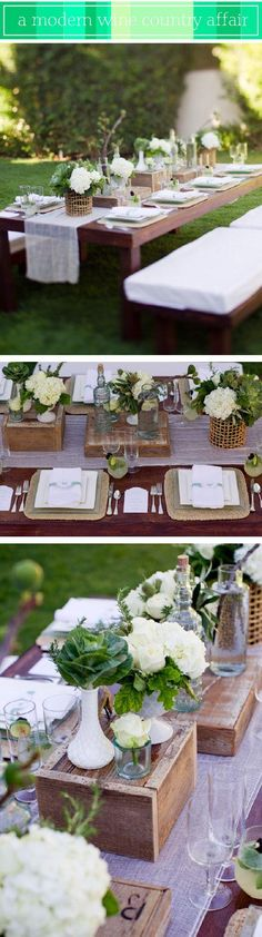 The wooden boxes are a great use of centerpiece