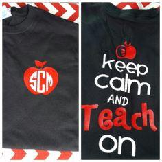 Keep calm teacher monogram shirt!  Visit www.vinylizeitnow.com for cute gifts... A lot of them monogrammed!