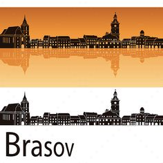 Brasov Skyline in Orange Background