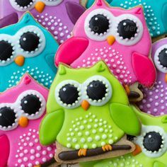 Cute Owl Cookies. Ideas for baby shower or girl birthday party sugar cookies decoration. Stock photo.