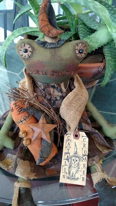 Catalin Croaker Witch Halloween Fall Primitive Frog October Decoration Scary #NaivePrimitive #UrbanHandmade