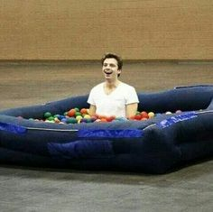 In case you're having too much Bucky Feels... Here's Sebastian Stan in a ball pool... YOU'RE WELCOME. :)