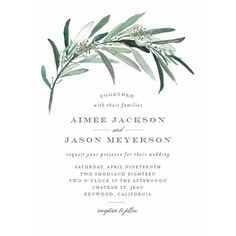 Lush Greenery Wedding Invitations by Emily Crawford | Elli