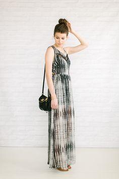 maxi dress / open toe booties