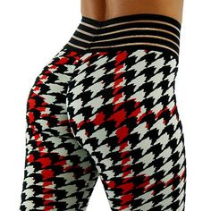 Fabric Colors: Houndstooth Print with Red, Black & Gray Fabric: CBL Jersey Waist: Black Transparent Stripe Waistband Style: Basic Booty Black And Grey, Red Black, Grey Fabric, Custom Fabric, Houndstooth, Fitness Fashion, Pajama Pants, Booty, Spandex