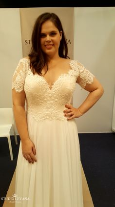Plus size wedding gown with short sleeves. Scarlet. Studio Levana Plus Size  Brides dc9b23fe1d18