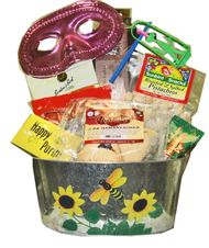 Think spring! This flowered metal basket has all your Purim favorites, hammentashen, chocolates, mask, and gragger! Add flavored coffee, hummus, dried fruit and nuts and you have the perfect Shlach Manot gift.