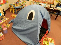 Jonah - the whale made with a Kid size pop up play tent. Cute idea, but I would need 2 or 3 tents, and blue or gray sheets too. Wish I could do this it would be so cute.