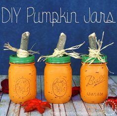 DIY Pumpkin Jars - paint mason jars then file for a rustic look