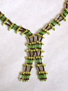 Vintage Safety Pin and Bead Necklace