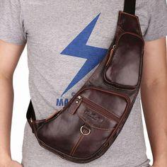 High Quality Cowhide Genuine Leather New Men Messenger Shoulder Sling Bag Travel Rucksack Vintage Retro Fashion Chest Day Pack