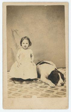 CDV sweet little girl & her big dog asleep at her feet Richmond IN