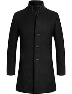 APTRO Men's Trench Coat Wool Blend Slim Fit Winter Fashion Jacket Top Coat