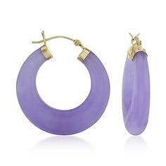JP: Purple Jade Hoop Gold Earrings