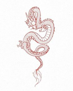 Super Red Chinese Dragon Tattoo Back Ideas Cute Dragon Tattoo, Small Dragon Tattoos, Dragon Tattoo For Women, Japanese Dragon Tattoos, Dragon Tattoo Designs, Small Tattoos, Dragon Tattoo Sketch, Chinese Dragon Drawing, Tattoo Japanese