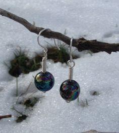 Iridescent Antique Bead Saturn Earrings