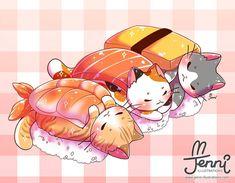 For Sale Munchkin Cats Chat Kawaii, Manga Kawaii, Kawaii Cat, Kawaii Stuff, Kawaii Chibi, Cute Food Drawings, Cute Animal Drawings Kawaii, Cute Cat Drawing, Japon Illustration