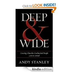 Favorite Books of 2012: Deep & Wide by Andy Stanley - the best book I have read on why the health of a church requires that it primarily focus on those outside of the church.  Now only $5.99 for Kindle