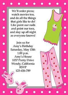 Personalized Girls Sleepover Birthday Printable Invitation DIY